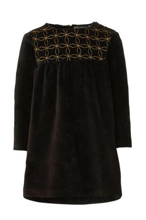 jurk van fluweel zwart/goud