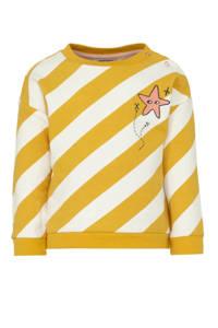 Tumble 'n Dry Lo gestreepte sweater Jonne met biologisch katoen geel/wit, Geel/wit