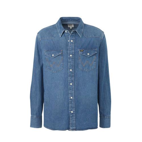 Wrangler slim fit overhemd blauw