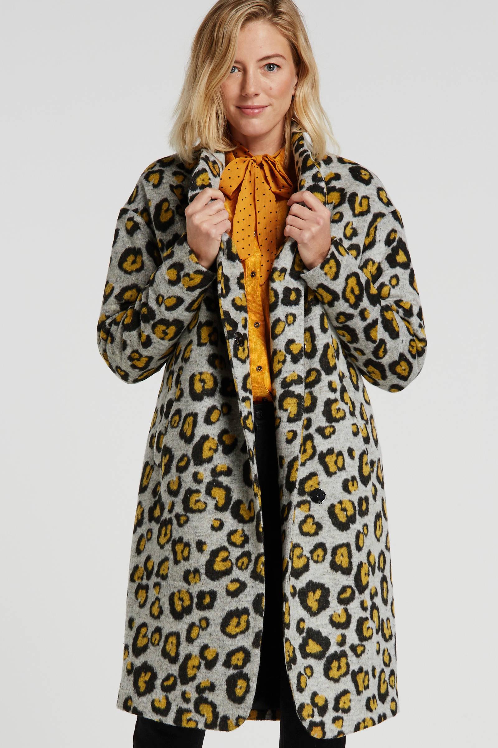Aaiko coat Larrosa Pes met panterprint grijs/geel/zwart