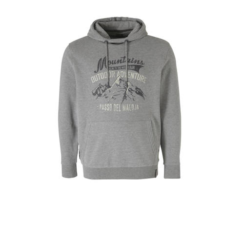 Kitaro +size hoodie met printopdruk grijs melange