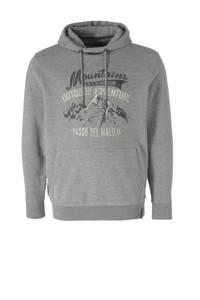 Kitaro +size hoodie met printopdruk grijs melange, Grijs melange