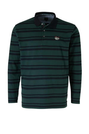 +size gestreepte regular fit polo groen/donkerblauw