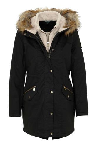 winterjas met capuchonkraag zwart