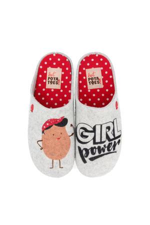 HP 57013 pantoffels grijs/rood