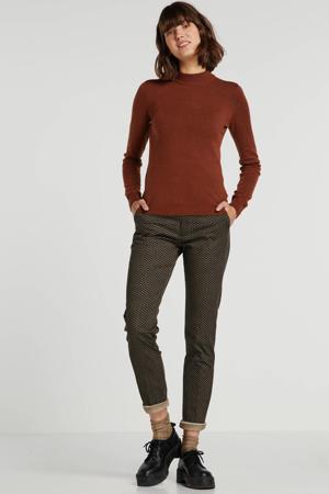 straight fit broek Eva met all over print bruin/beige