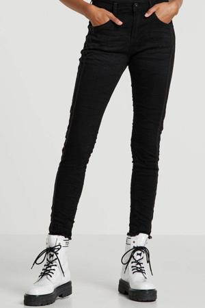 boyfriend jeans met zijstreep zwart
