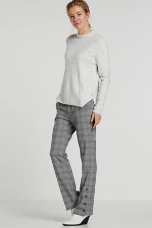 geruite straight fit pantalon grijs