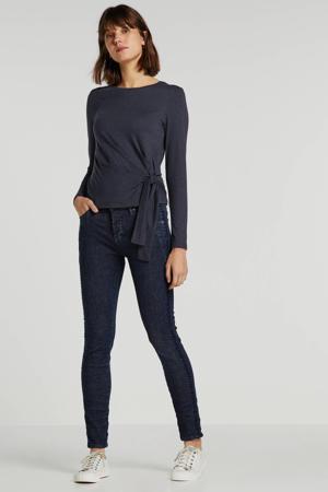 high waist slim fit jeans donkerblauw