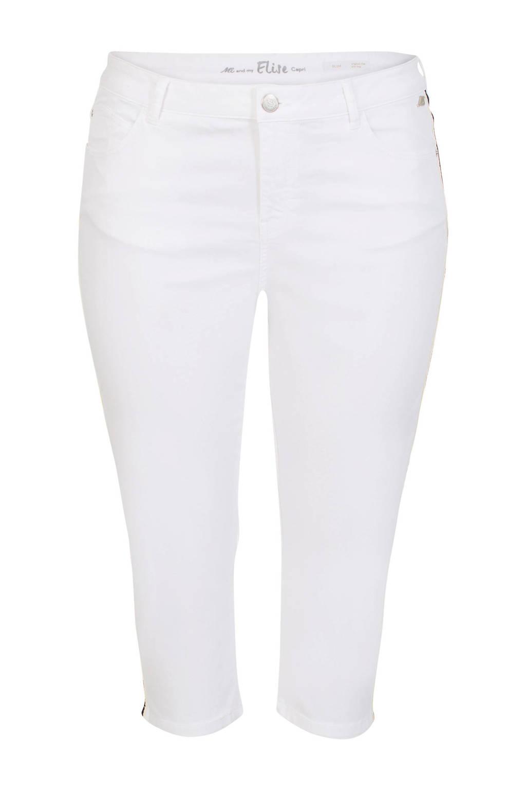 Miss Etam Plus slim fit capri jeans met zijstreep, Wit