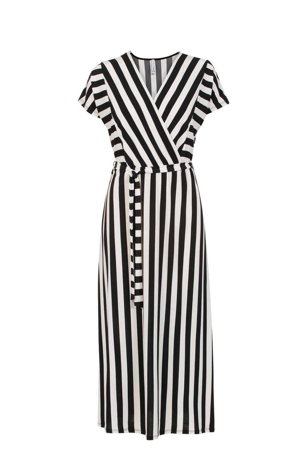 Miss Etam Regulier gestreepte jurk met overslag zwart/wit, Zwart/wit