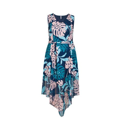 Miss Etam Plus jurk met bladprint petrol