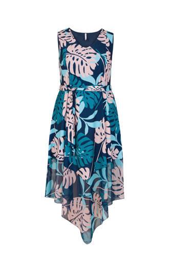 Plus jurk met bladprint petrol