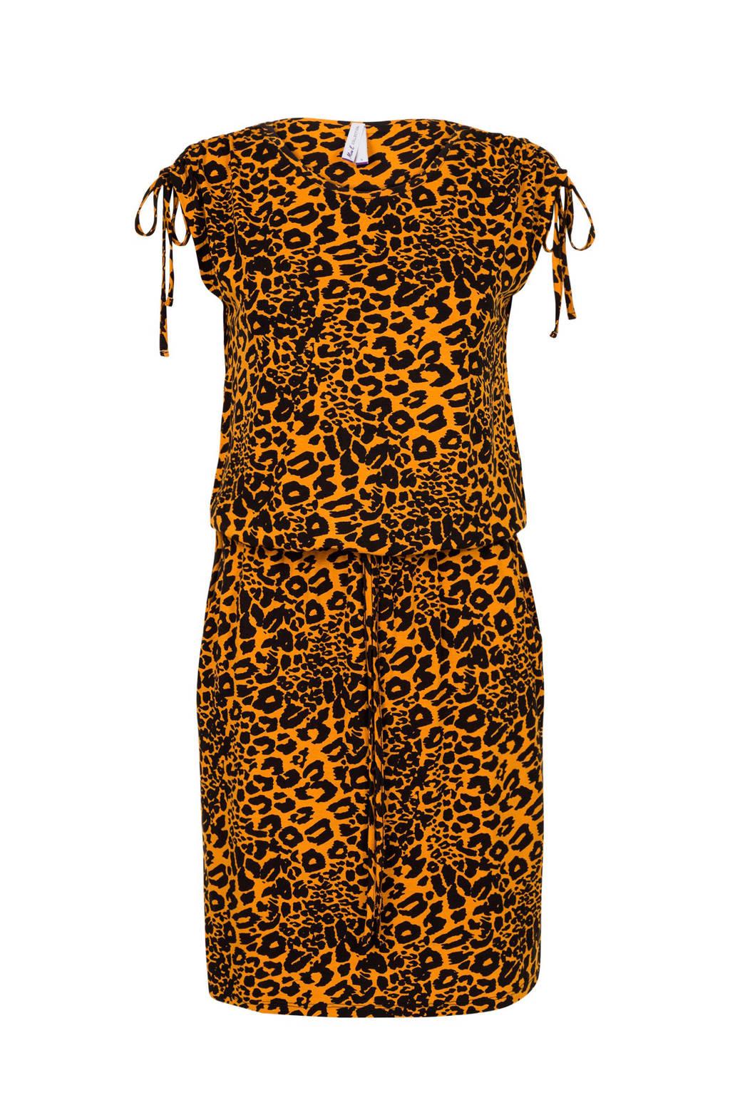 Miss Etam Regulier jurk met panterprint geel, Geel