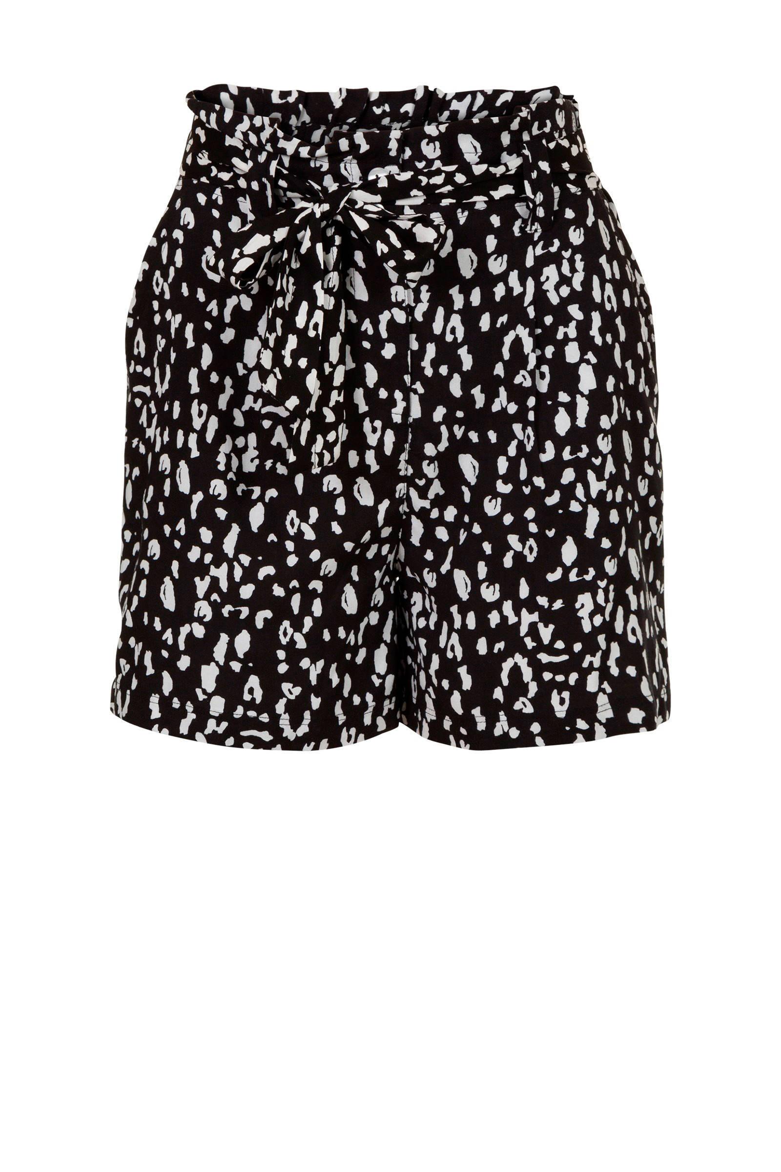 high waist loose fit short met panterprint zwart