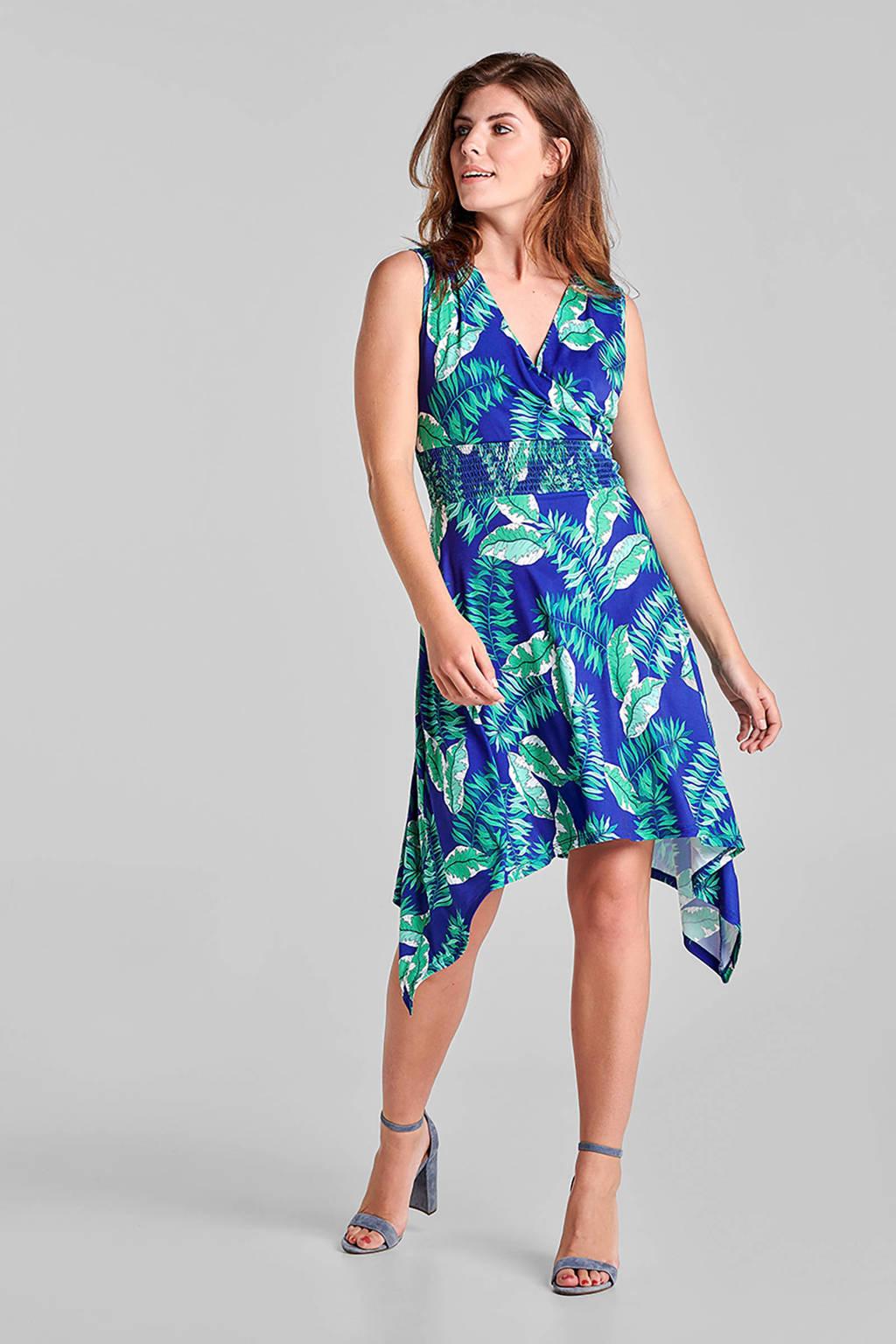 Miss Etam Regulier jurk met bladprint blauw/groen, Blauw/groen