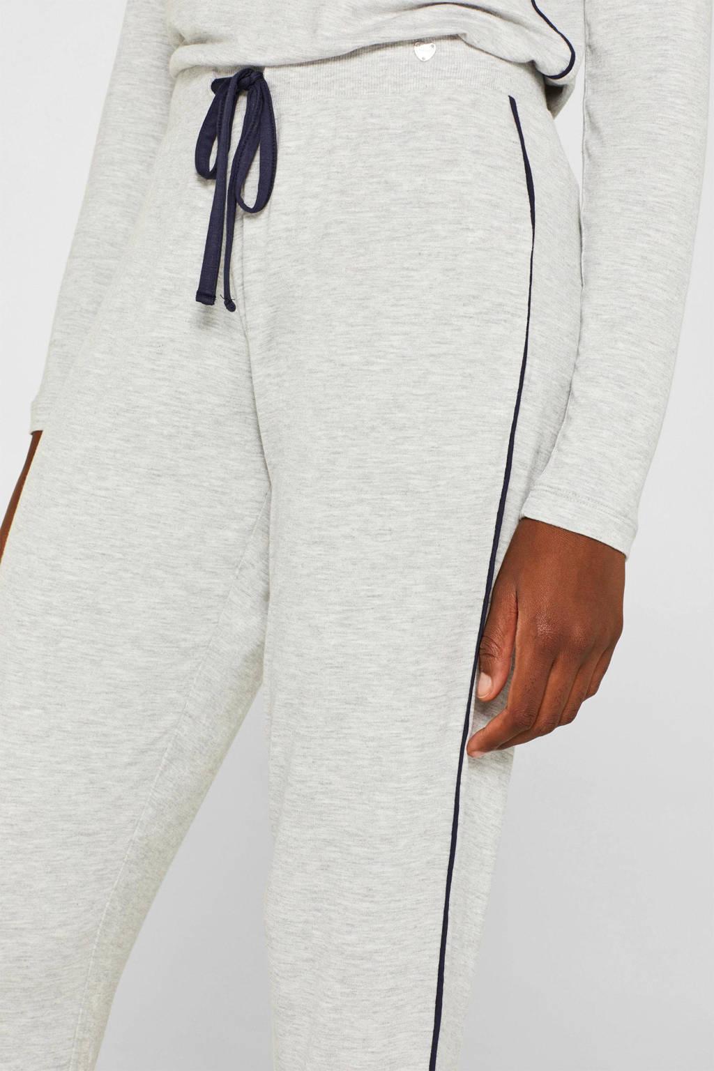 ESPRIT Women Bodywear pyjamabroek met contrastbies grijs, Grijs
