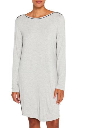 nachthemd met contrastbies grijs
