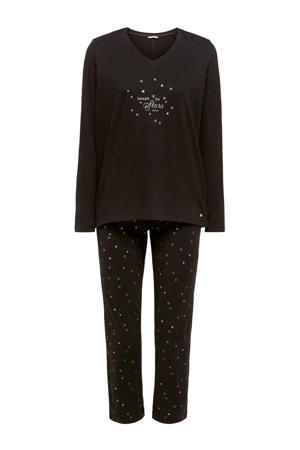 Women Bodywear pyjama met printopdruk zwart