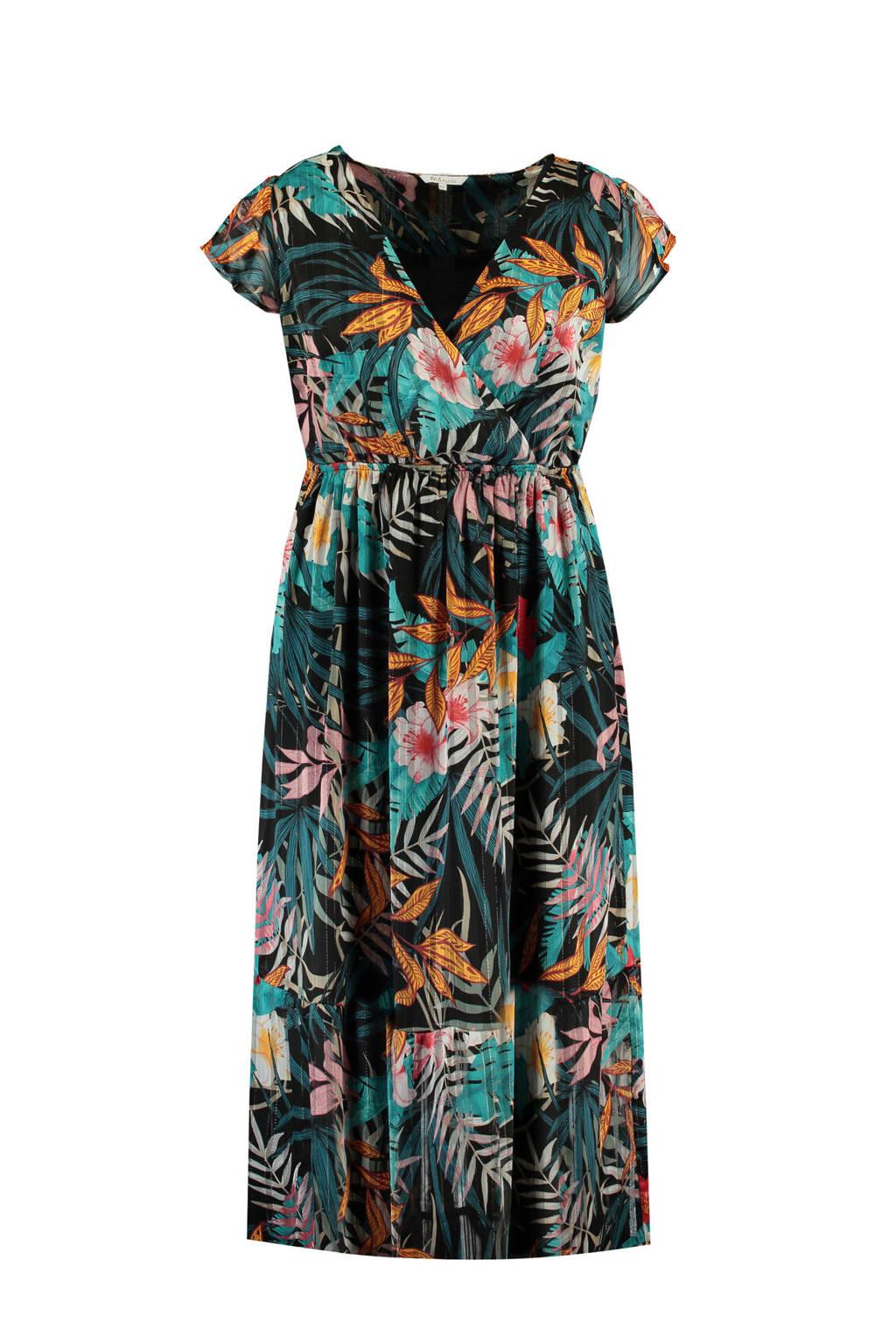 MS Mode gebloemde A-lijn jurk blauw, Multi
