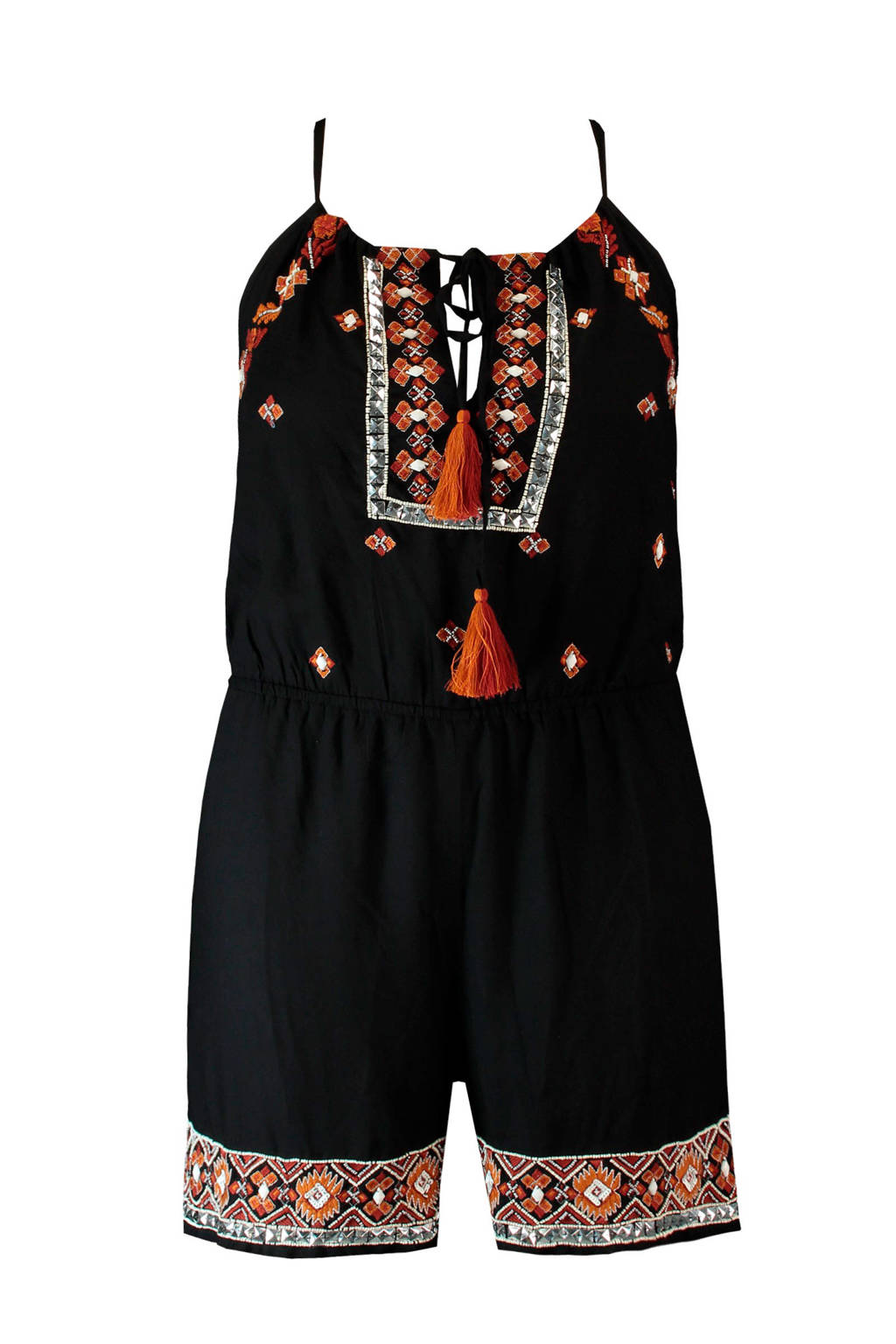 FSTVL by MS Mode playsuit met all over print en borduursels zwart, Zwart