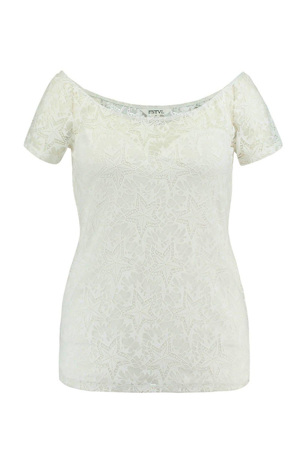 FSTVL by MS Mode kanten top met wijde hals, Gebroken wit
