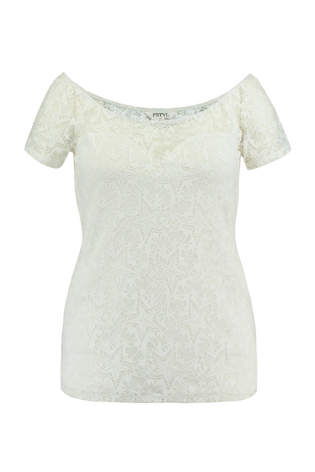 MS Mode kanten top met wijde hals, Gebroken wit