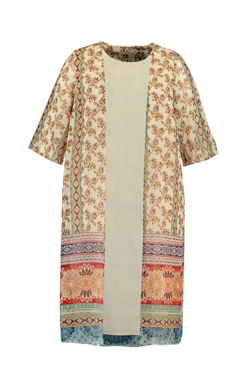 MS Mode kimono met all over print ecru multi, Ecru multi