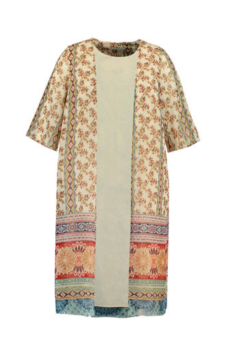 kimono met all over print ecru multi