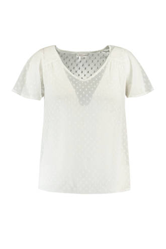 semi-transparante top met stippen wit