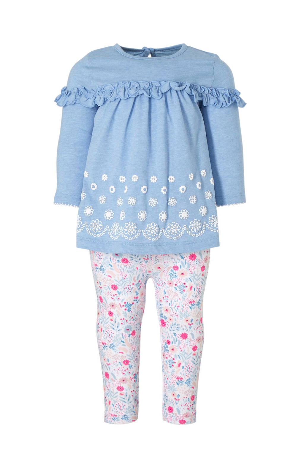 C&A Baby Club jurk + legging, Blauw/wit/roze