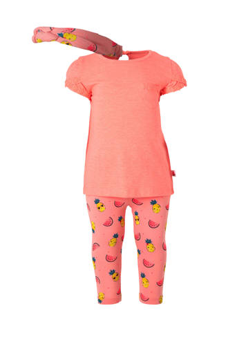 Baby Club T-shirt + broek + haarband met all over print
