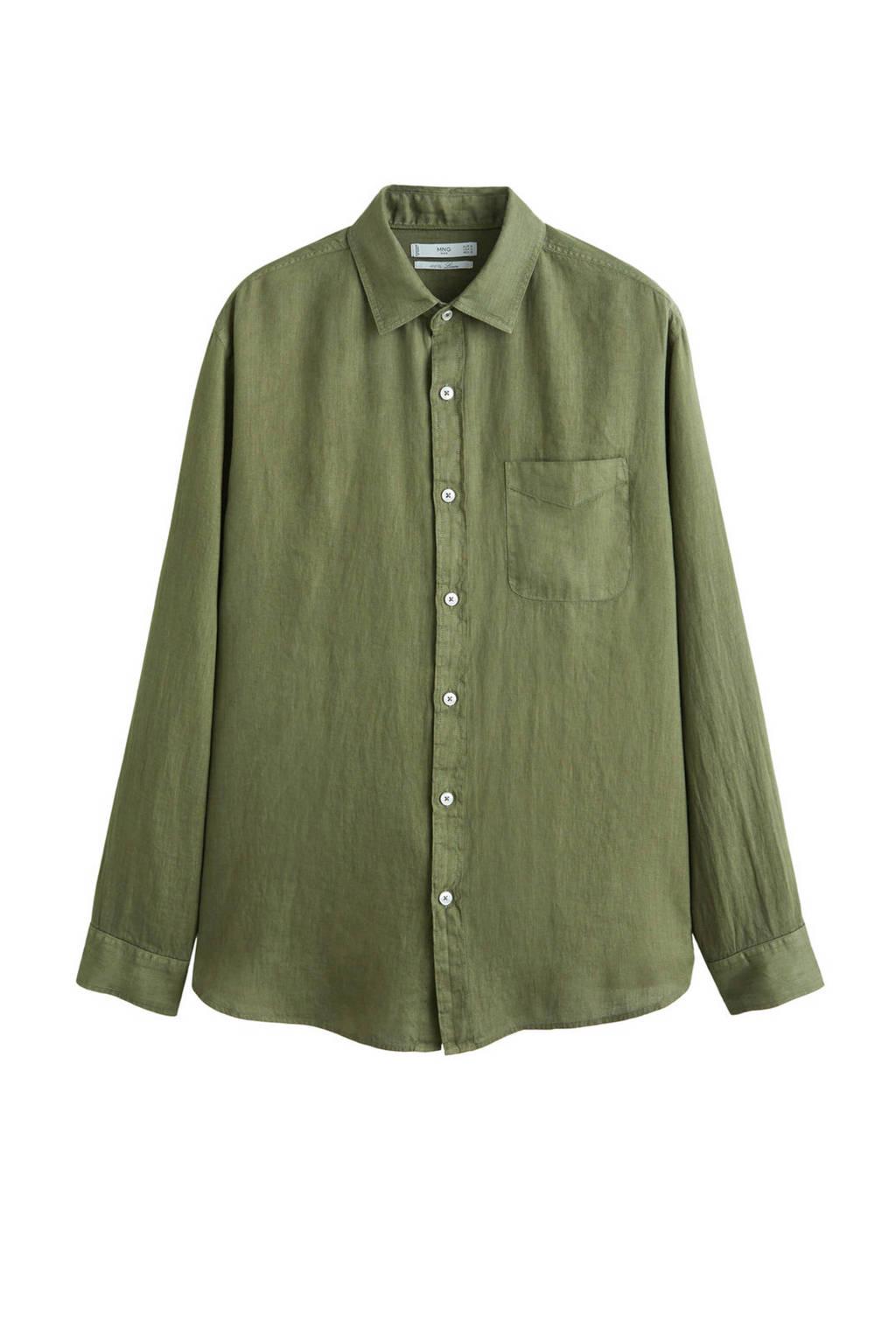 Mango Man linnen regular fit overhemd groen, Groen