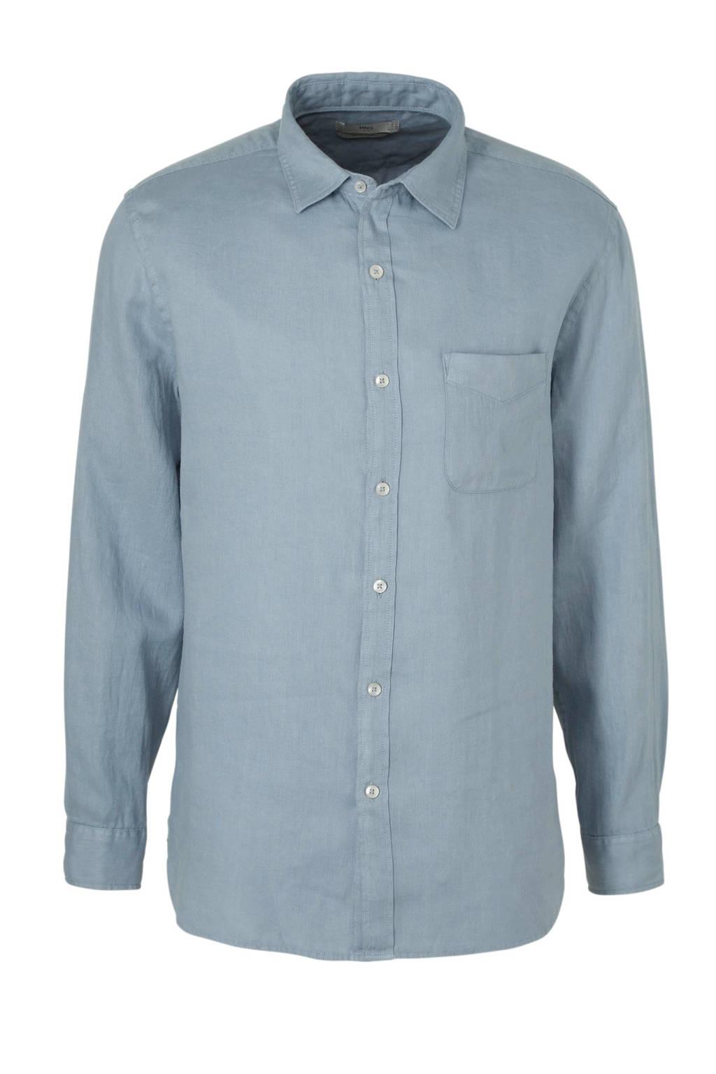 Mango Man linnen regular fit overhemd lichtblauw, Lichtblauw