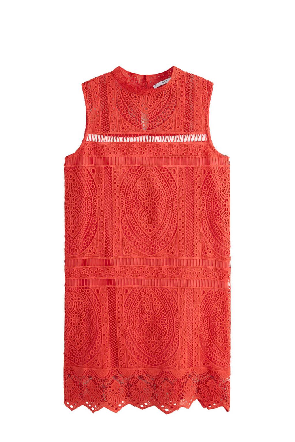Mango kanten jurk met opengewerkt details, Rood