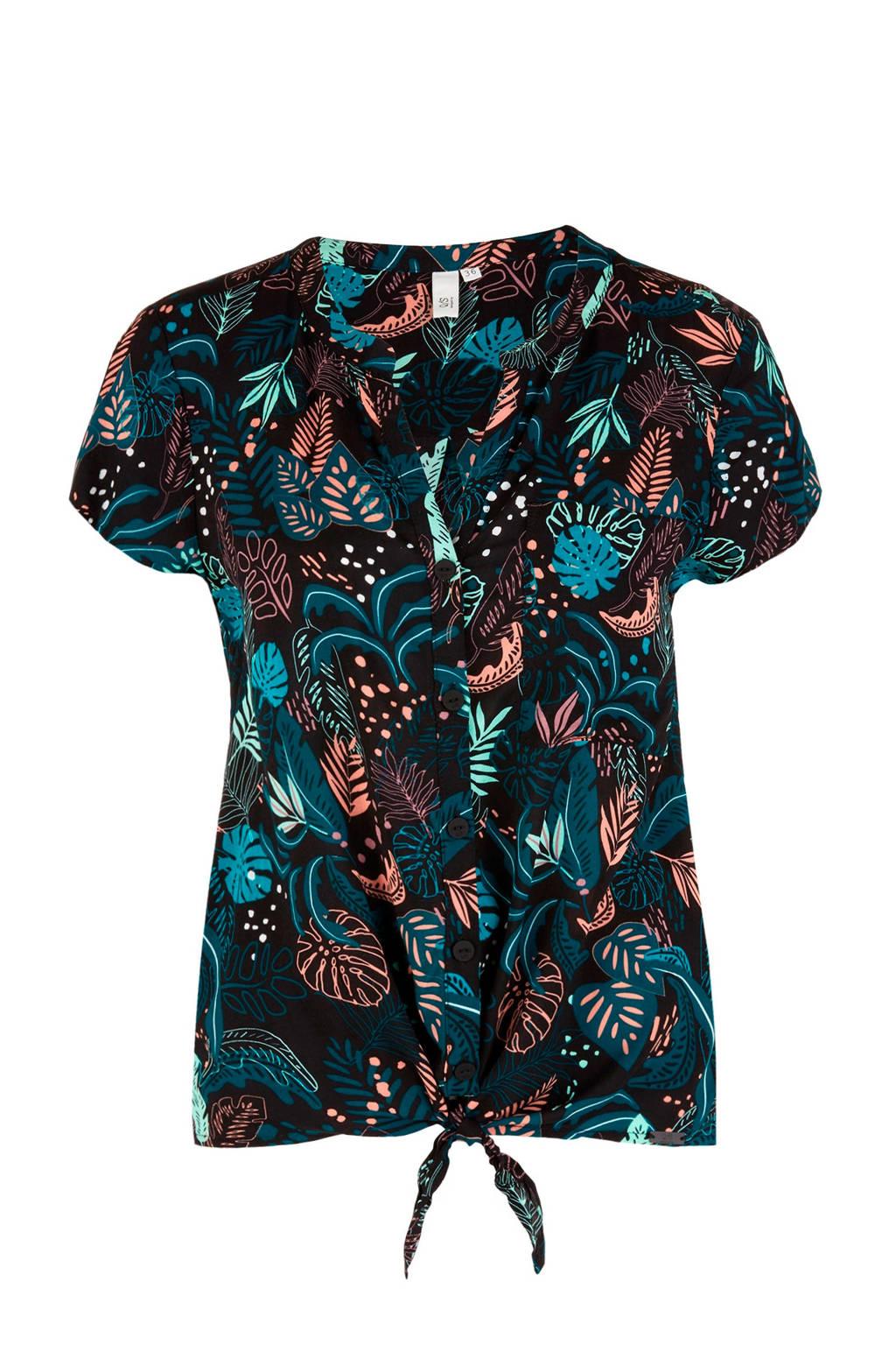 Q/S designed by blouse met all over print zwart, Zwart