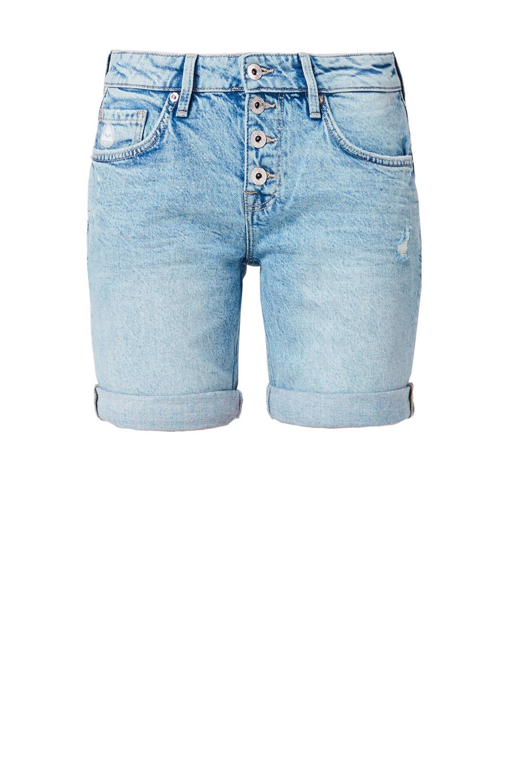Q/S designed by regular fit jeans short met slijtage, Light denim
