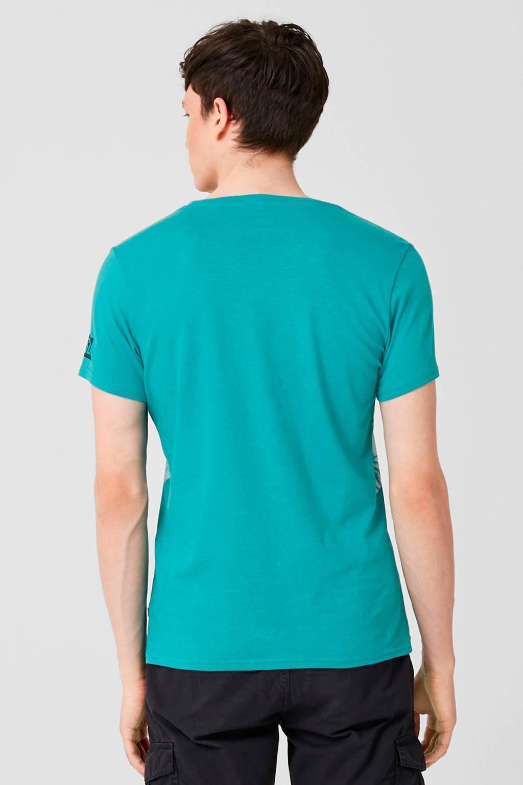 Q/S designed by T-shirt met printopdruk, Turquoise
