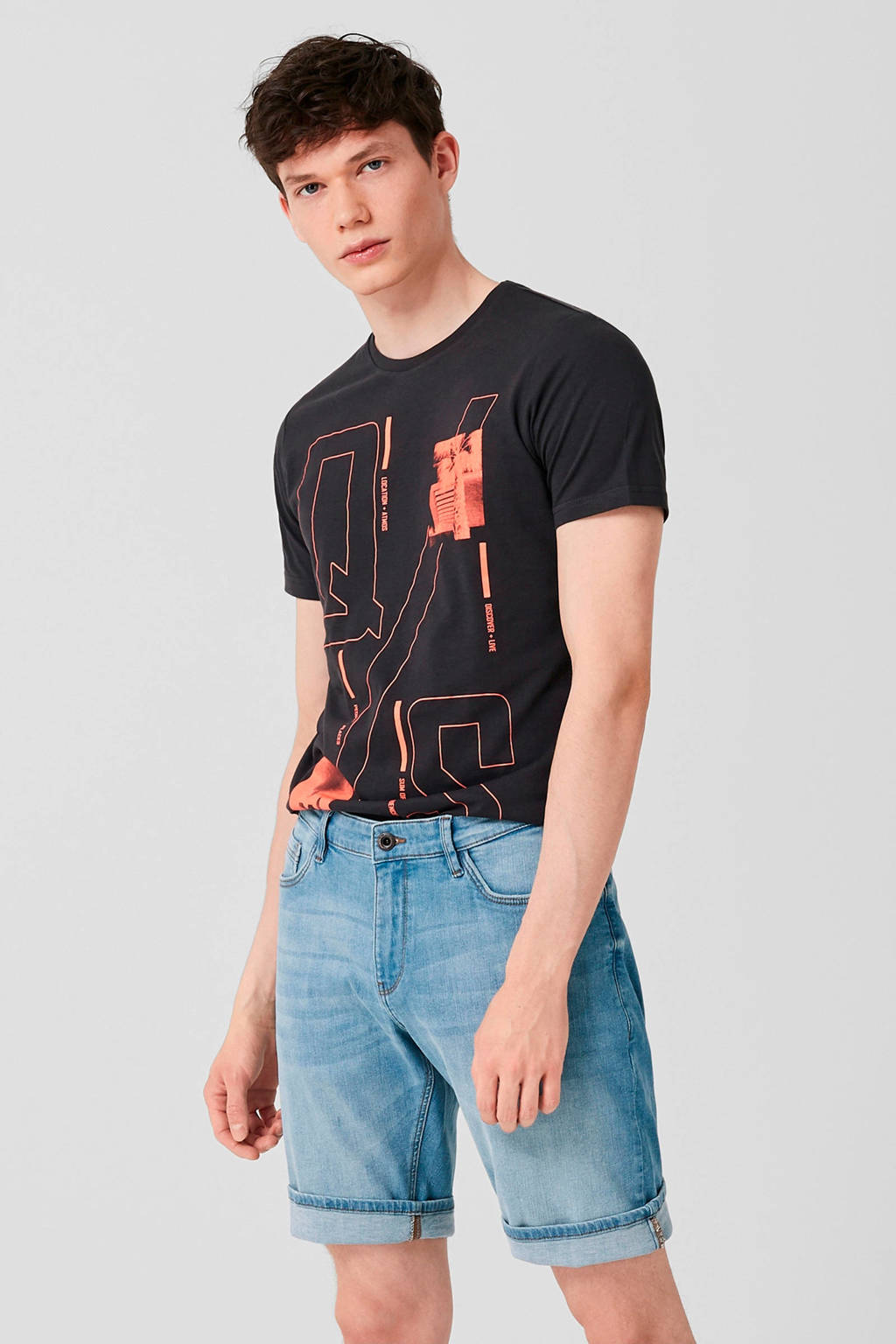 Q/S designed by regular fit jeans short, Lichtblauw