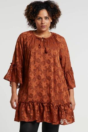 jurk met all over print en borduursels bruin