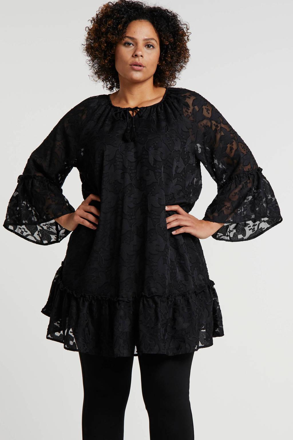 Zhenzi jurk met all over print en borduursels zwart, Zwart