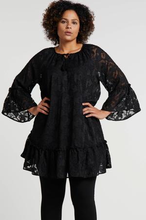 jurk met all over print en borduursels zwart
