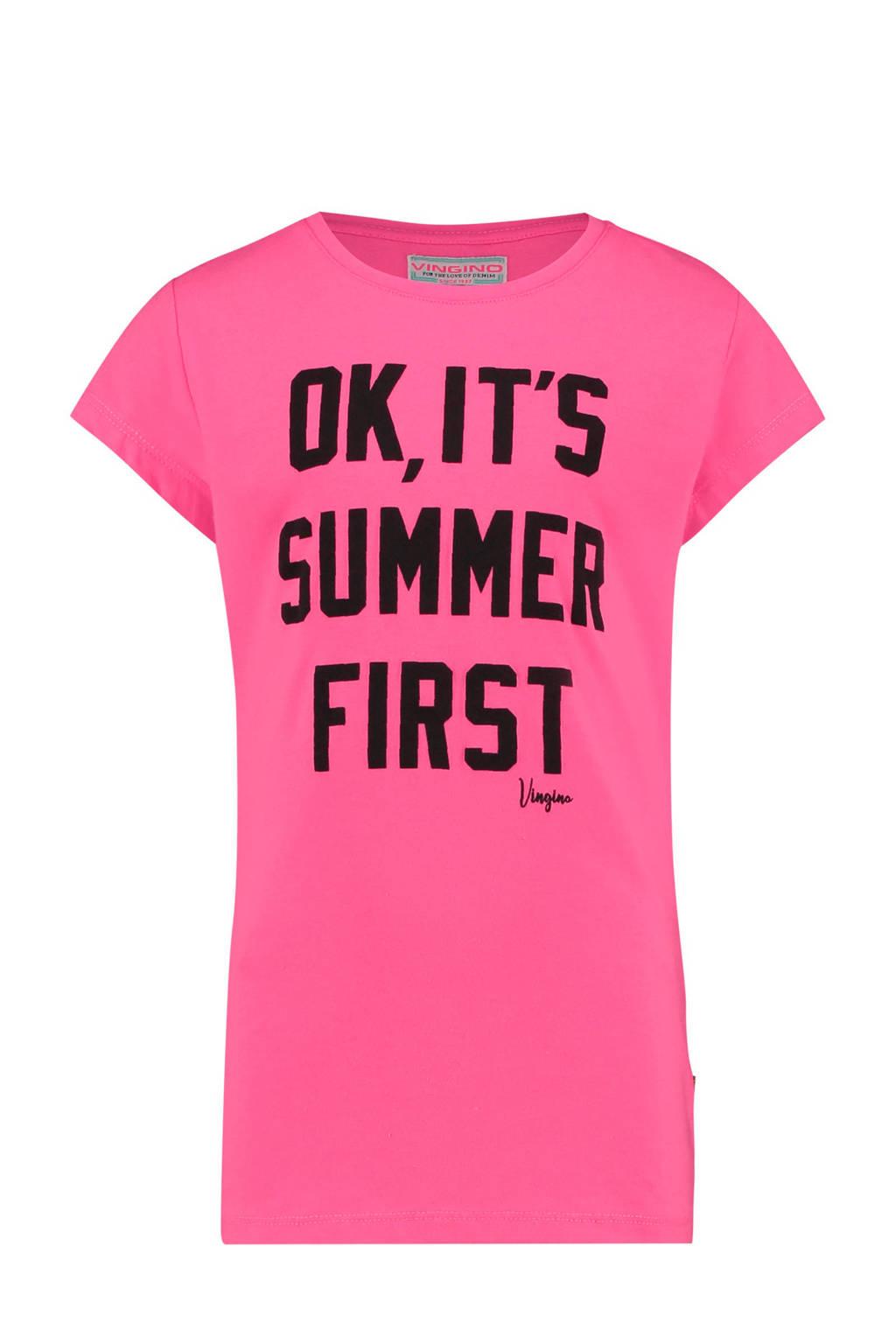 Vingino T-shirt Hannelore met tekst roze, Roze