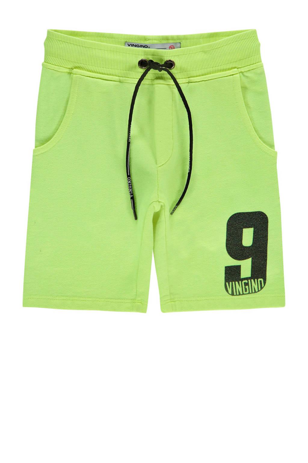 Vingino sweatshort Sespara met printopdruk neon geel, Neon geel