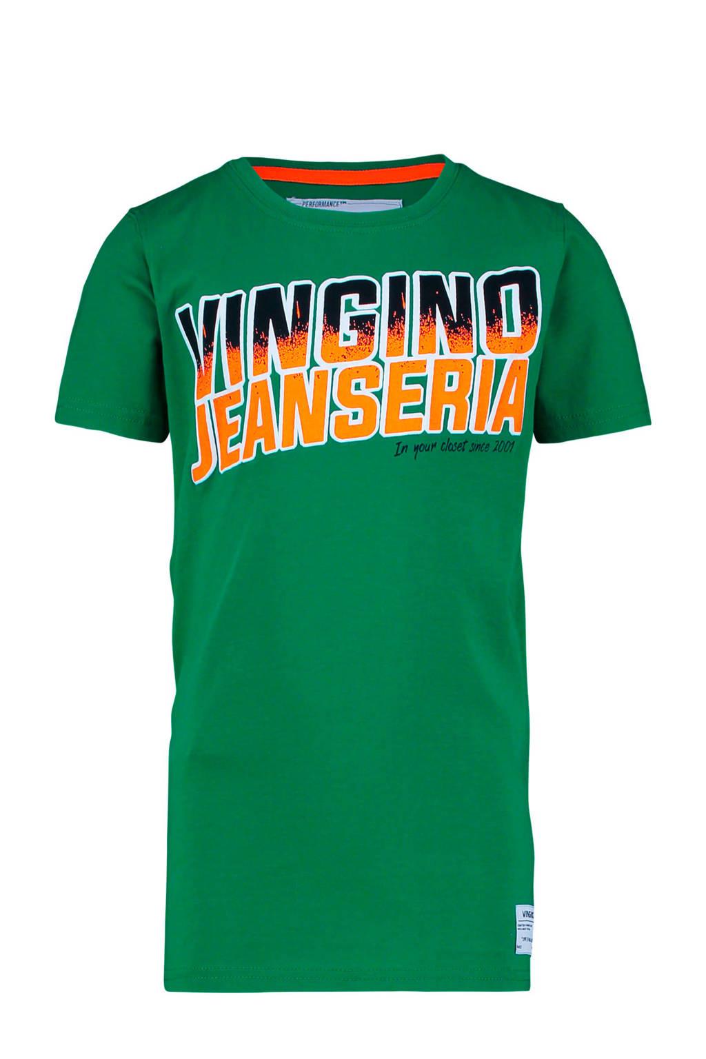 Vingino T-shirt Heria met tekst groen, Groen