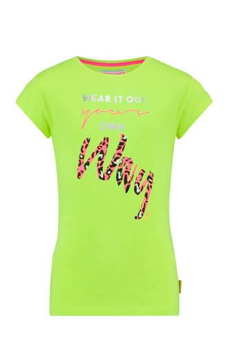 T-shirt Hollie met tekst neon geel