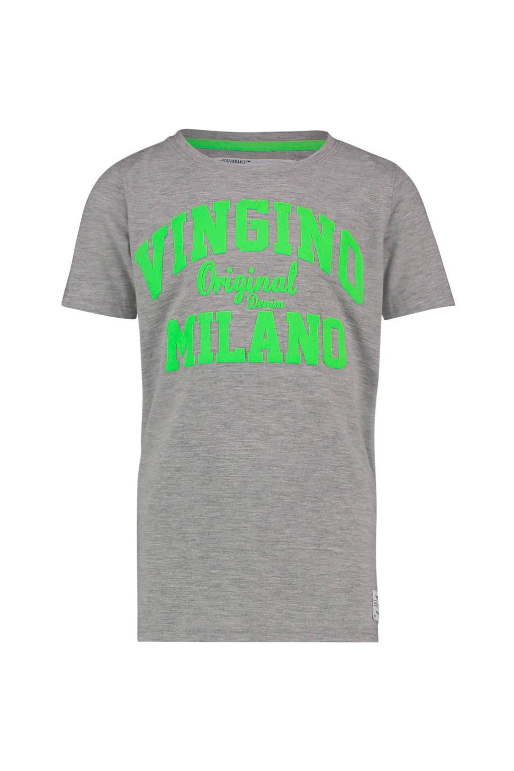Vingino T-shirt Heon met logo grijs melange, Grijs melange