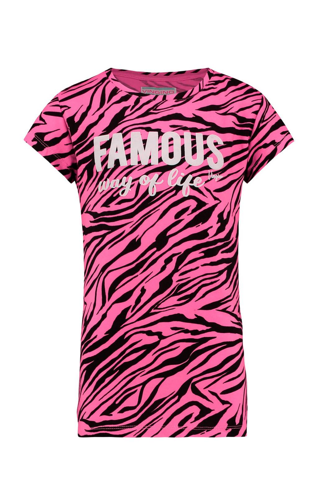Vingino T-shirt Heurien met all over print en tekst roze, Roze/zwart