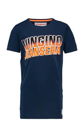 T-shirt Heria met tekst donkerblauw