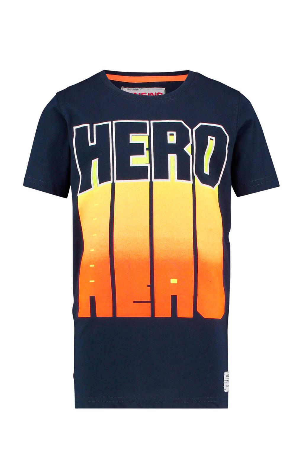 Vingino T-shirt Hasti met print donkerblauw, Donkerblauw